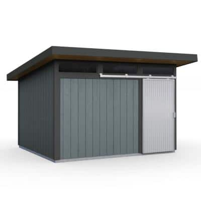 Installed Halcyon 10 ft. x 12 ft. Wooden Shed with Metal Roof