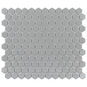 Metro Hex 11-3/4 in. x 10-1/4 in. x 6mm Glossy Light Grey Porcelain Mosaic Tile (8.56 sq. ft. / case)