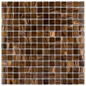 Coppa Brown Gold 12 in. x 12 in. Glass Mosaic Tile (13.27 sq. ft. / Case)