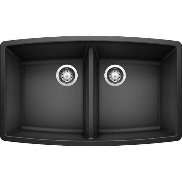 Blanco Performa Undermount Granite Composite 33 In 50 Double Bowl Kitchen Sink Anthracite 440069 The Home Depot