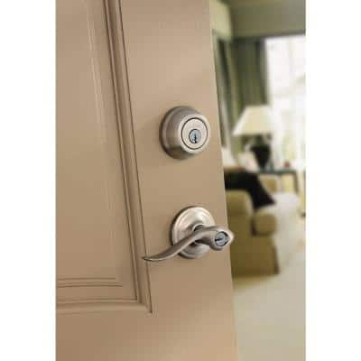 Tustin Satin Nickel Exterior Entry Door Lever and Single Cylinder Deadbolt Combo Pack Featuring SmartKey Security