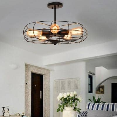 5-Light Black Hanging Ceiling Chandelier with Metal Shade