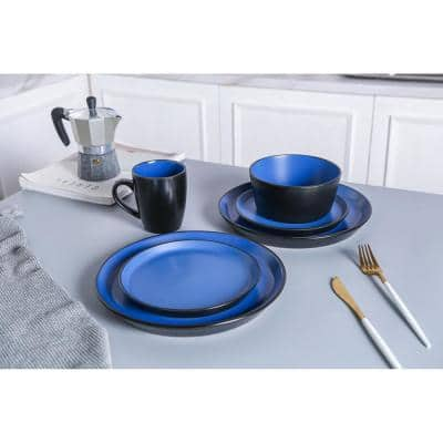 16-Piece Casual Blue and Black Stoneware Dinnerware Set (Set for 4)