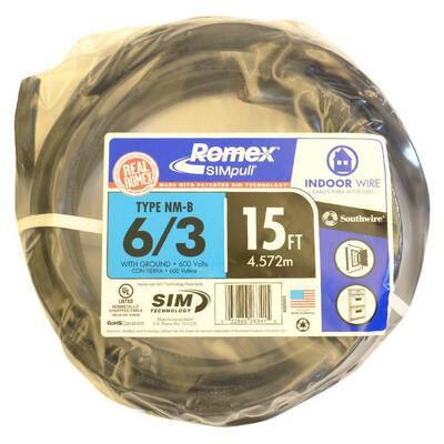 15 ft. 6/3 Black Stranded Romex SIMpull CU NM-B W/G Wire