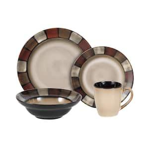 Taos 16-Piece Casual Brown Stoneware Dinnerware Set (Set for 4)