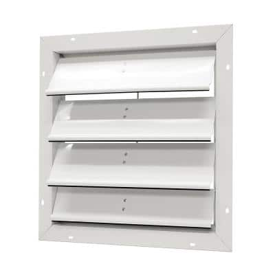 19.25 in. x 19.25 in. Square White Aluminum Automatic Shutter Gable Louver Vent