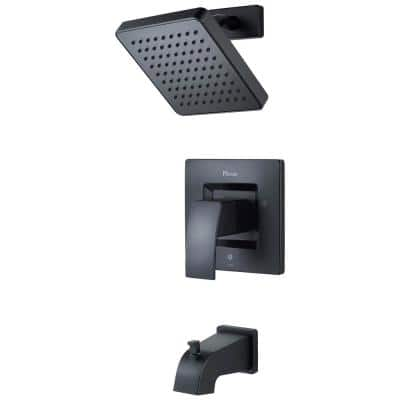 Kenzo 1-Handle 1-Spray Tub and Shower Trim Kit in Matte Black (Valve Not Included)
