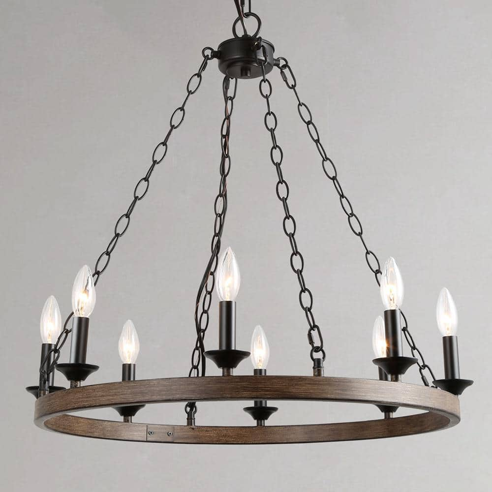 Lnc Adam Industrial 8 Light Black Dining Room Wagon Wheel Candle Chandelier With Wood Accents A03470 The Home Depot