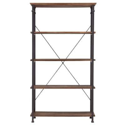 72 in. Distressed Cocoa Metal 4-shelf Etagere Bookcase with Open Back
