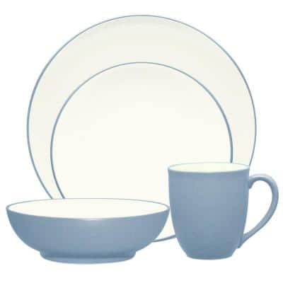 Colorwave Ice Light Blue Stoneware Coupe 4-Piece Place Setting (ServIce Light Bluefor 1)