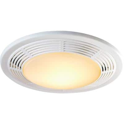 White 100 CFM Ceiling Mount Bathroom Exhaust Fan with Light and Nightlight