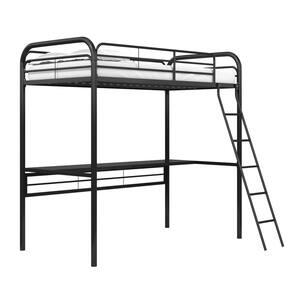 Kenzie Black Metal Twin Loft Bed with Black Desk