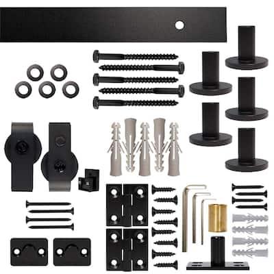 72 in. Black Single Bi-Fold Top Mount Sliding Barn Door Track and Hardware Kit