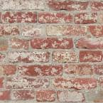 Stuccoes Red Brick Vinyl Peel & Stick Wallpaper Roll (Covers 28.18 Sq. Ft.)