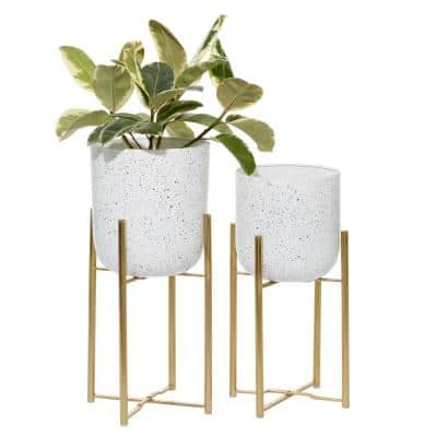 22 in. x 10 in. White Metal Contemporary Planter (Set of 2)
