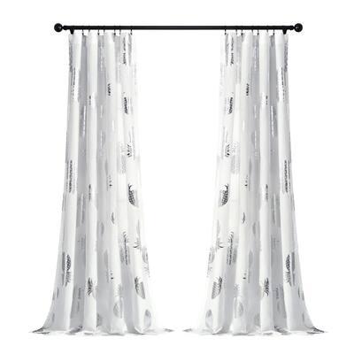 Pineapple Toss Window Curtain Panels Silver 52X84 Set