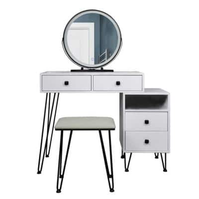 51.2 in. H 4-Drawer White Dresser Set with Touch Screen Adjustable Lighted LED Mirror and Cushioned Stool