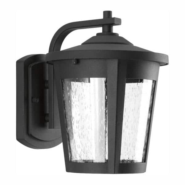 Progress Lighting East Haven Led Collection 1 Light Textured Black Clear Seeded Glass Transitional Outdoor Medium Wall Lantern Light P6078 3130k9 The Home Depot