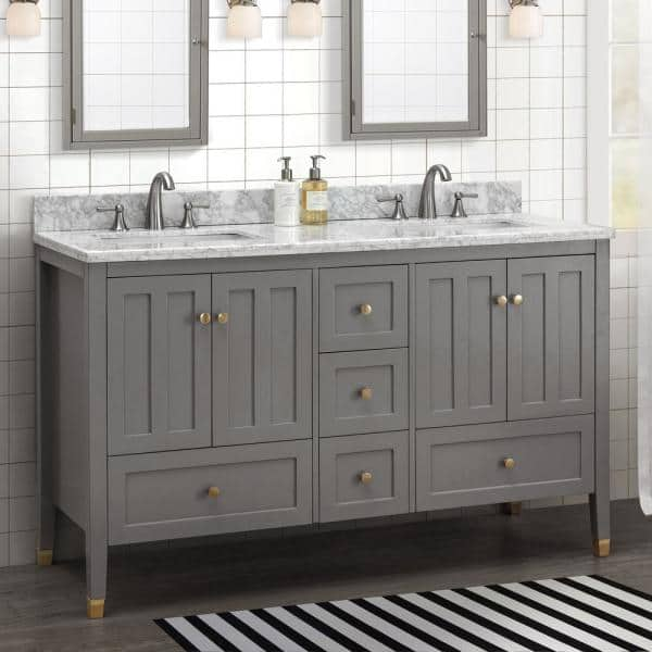 Sunjoy Sedna Gray 60 In W X 22 05 In D X 35 75 In H Shaker Style Bathroom Vanity With Marble Vanity Top And Double Basin B301008400 The Home Depot