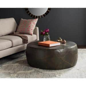 Vernice 41 in. Brown Large Round Metal Coffee Table
