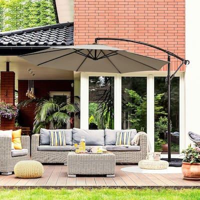 10 ft. Iron Cantilever Solar Tilt Patio Umbrella in Tan