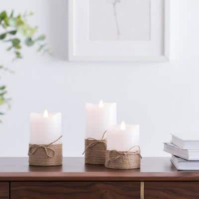 Hemp Rope LED Flameless Pillar Candles Set of 3 White Candles with Rope Comes with Remote Control