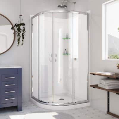 Prime 33 in. x 33 in. x 76.75 in. H Corner Semi-Frameless Sliding Shower Enclosure in Chrome with Base and Back Walls