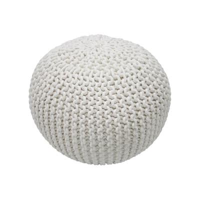 Ling Knit Filled Ottoman White Round Pouf