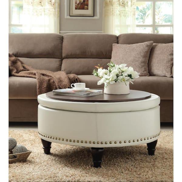 Osp Home Furnishings Augusta Cream, Round Storage Ottoman Coffee Table