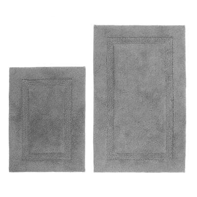Peniston Gray 17 in. x 24 in. and 21 in. x 34 in. Solid Cotton 2-Piece Bath Rug Set