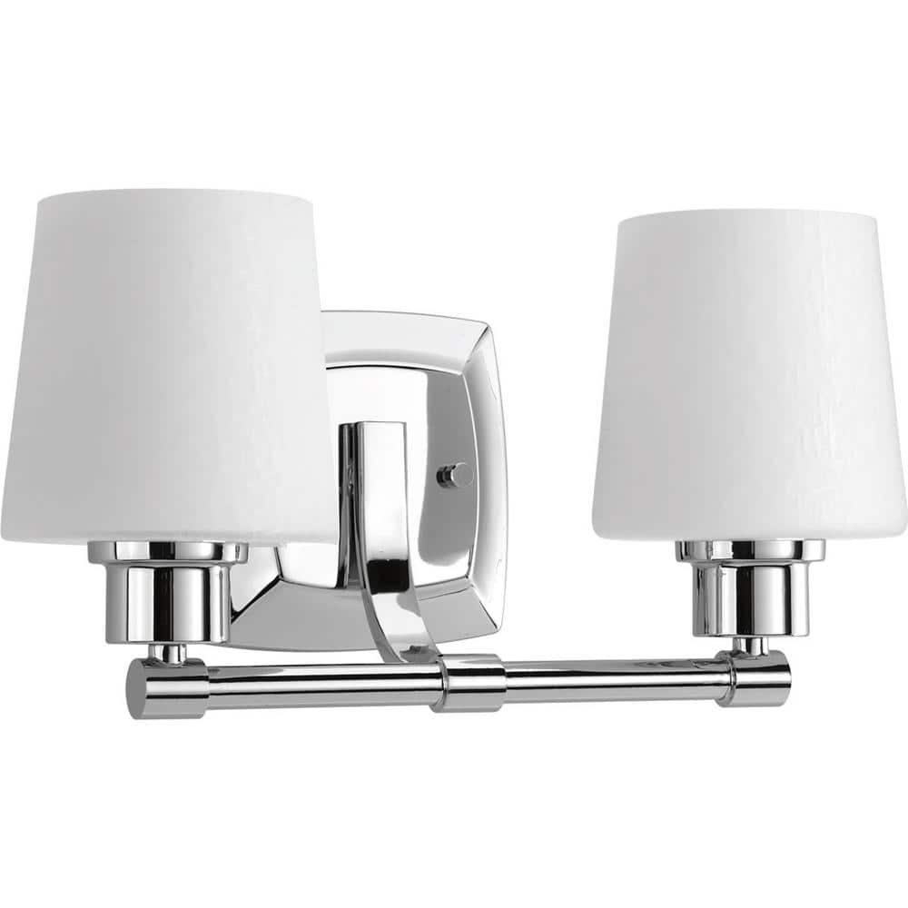 Progress Lighting Glance Collection 2 Light Polished Chrome Etched White Linen Glass Farmhouse Bath Vanity Light P300017 015 The Home Depot
