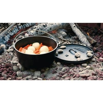 Camp 6 qt. Round Cast Iron Dutch Oven in Black with Lid