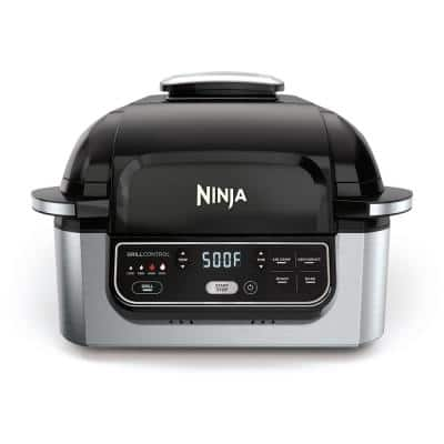 Foodi 10 in. Black Stainless Steel Smokeless Indoor Grill with Removable Plate