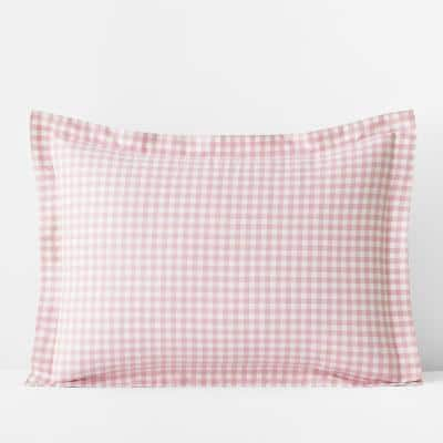 Company Kids Gingham Petal Pink Organic Cotton Percale Standard Sham