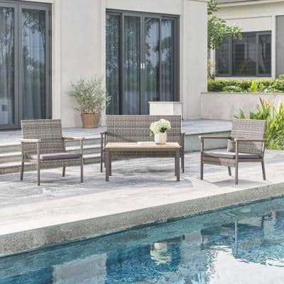 Evelyn 4-Piece Wicker Patio Conversation Set with Grey Cushion