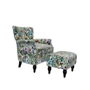 Duncan Multi-Cream Botanical Floral Velvet Channel Tufted Rolled Arm Chair and Ottoman Set