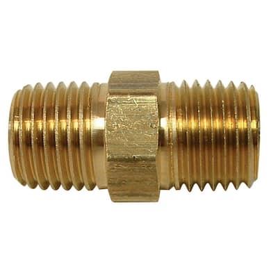3/8 in. x Close MIP Brass Hex Nipple Fitting