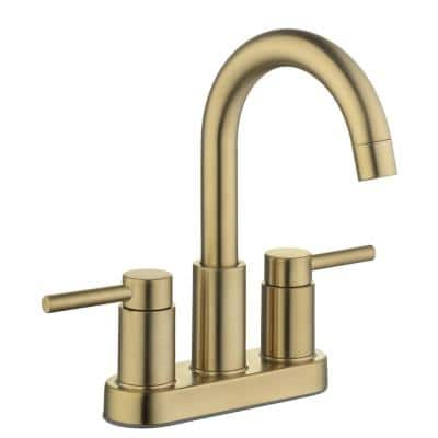 Dorind 4 in. Centerset 2-Handle High-Arc Bathroom Faucet in Matte Gold