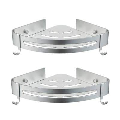 Chino Double Layer Wall Mounted and Screw Free Mounted with Hooks in Gray Aluminum