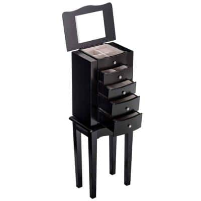 Black with Mirror Wood Freestanding Jewelry Armoire Storage Chest Cabinet 33 in. L x 9 in. W x 13 in. H