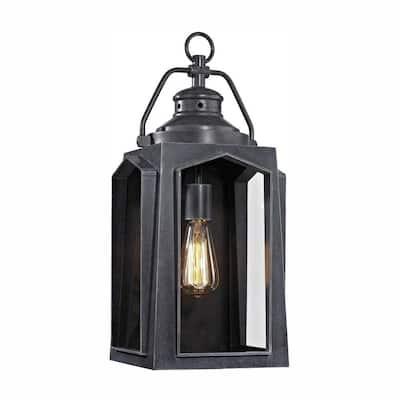 1-Light Charred Iron Outdoor Wall Lantern Sconce