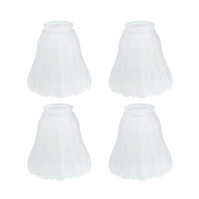 4-1/2 in. Frosted Ribbed Bell Ceiling Fan Replacement Glass Shade (4-Pack)