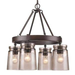 Travers 4-Light Rubbed Bronze Chandelier with Frosted Glass Shade