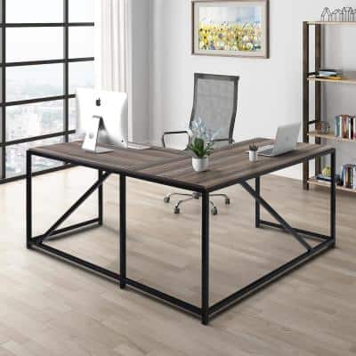 23 in. L-Shaped Walnut Computer Desk with Open Storage