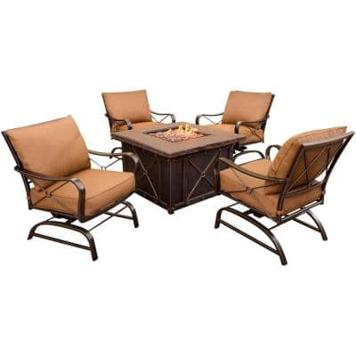 Classic 5-Piece All-Weather Patio Fire Pit Patio Conversation Set with Dark Tan Cushions
