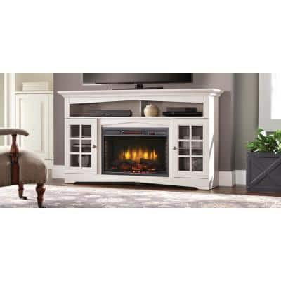 Huntley 59 in. Media Electric Fireplace in White
