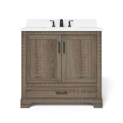 Kendall 36 in. W x 34.5 in. H Bath Vanity in Distressed Oak with Engineered Stone Vanity Top in White with White Basin