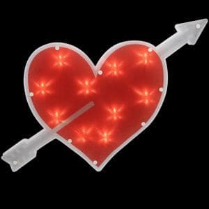 11 in. H x 18 in. L Lighted Red Heart with Arrow Valentine's Day Window Silhouette Decoration