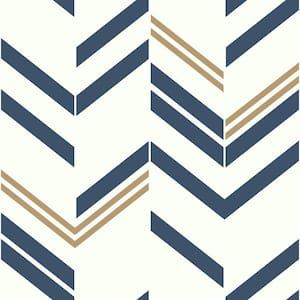 Blue Chevron & Herringbone Vinyl Peel & Stick Wallpaper Roll (Covers 28.18 Sq. Ft.)