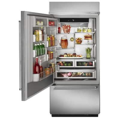 20.9 cu. ft. Built-In Bottom Freezer Refrigerator in Stainless Steel with Platinum Interior